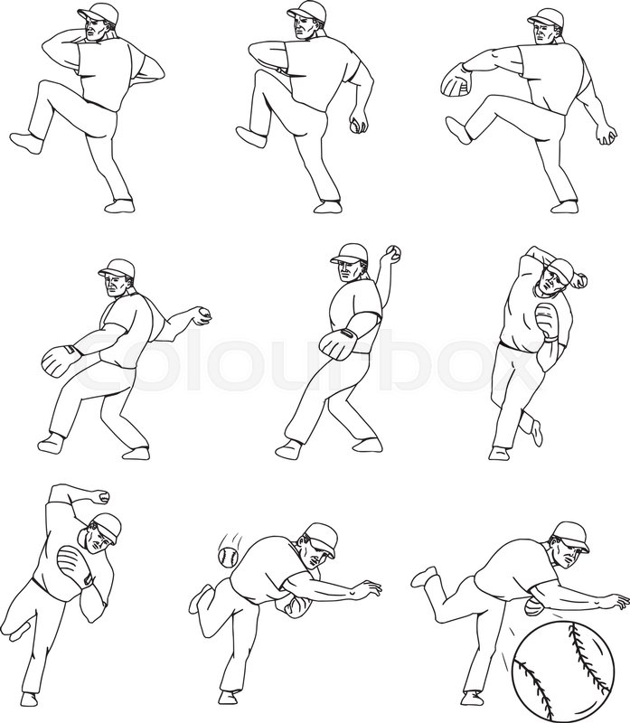 697x800 Collection Set Of Illustrations Of An Athlete Working Out Hitting
