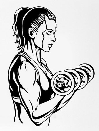 343x452 Fitness Wall Sticker Girl Woman Body Building Gym Dumbell Sport