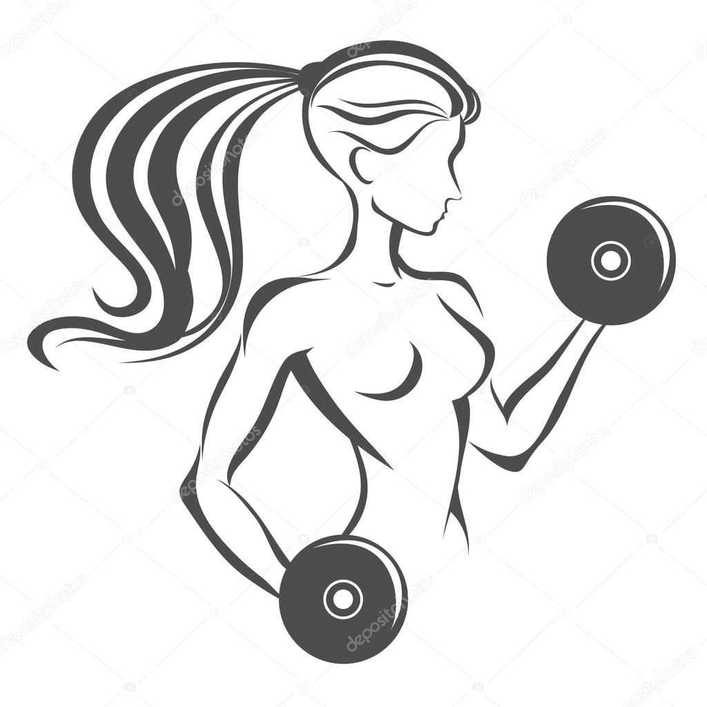 1024x1024 Sportfitness Label. Hand Drawn Girl With Dumbbells. Stock