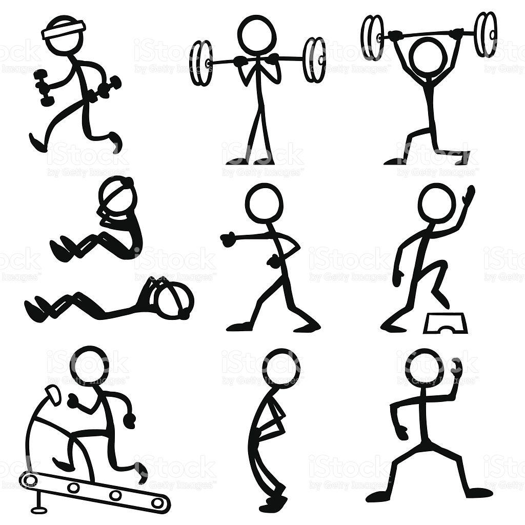 1024x1024 Stickfigure Doing Fitness Related Activities. Stick Figures