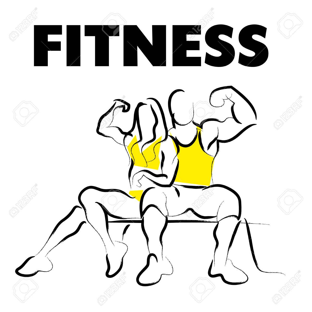 1300x1300 Vector Hand Drawn Fitness People Sketch. Athlete Figure Isolated