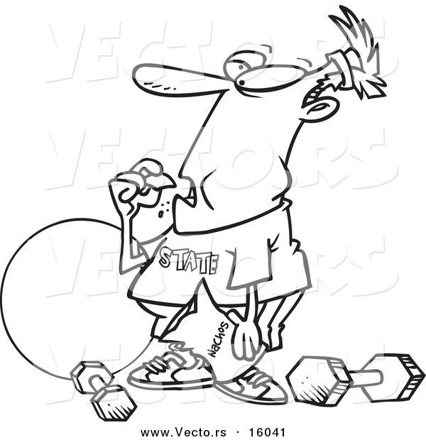 600x620 Vector Of A Cartoon Man Bingeing Instead Of Exercising