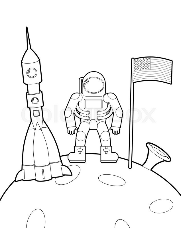 635x800 Astronaut With A Flag On Moon. Space Rocket Ship Coloring Book