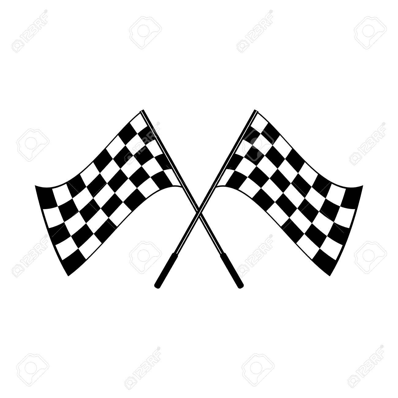 1299x1300 Crossed Waving Black And White Checkered Flags Logo Conceptual