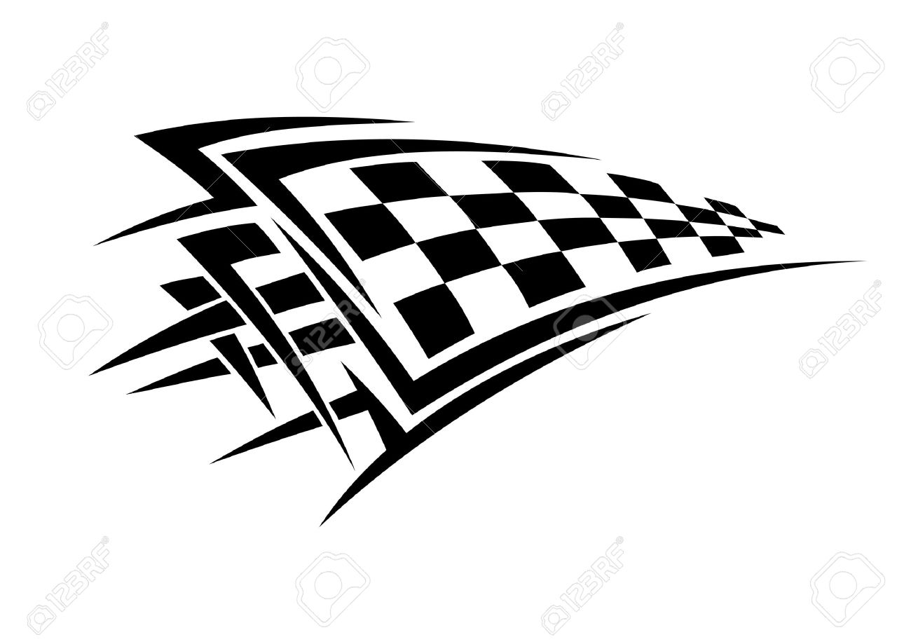 1300x919 Tribal Sport Racing Tattoo With Checkered Flag Royalty Free