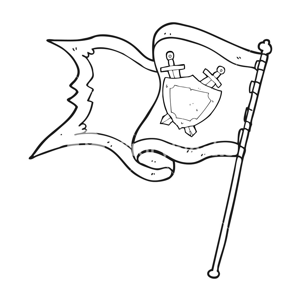 1000x1000 Freehand Drawn Black And White Cartoon Flag Blowing In Wind
