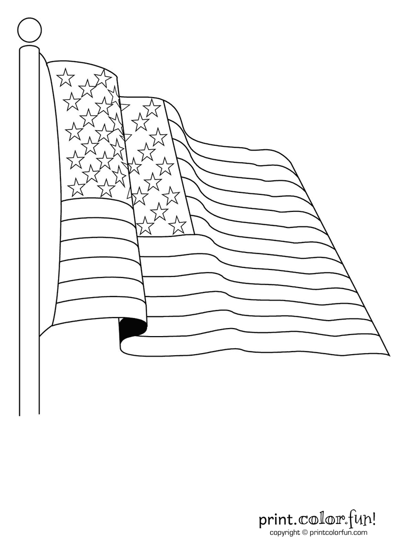 800x1100 American Flag Coloring Page