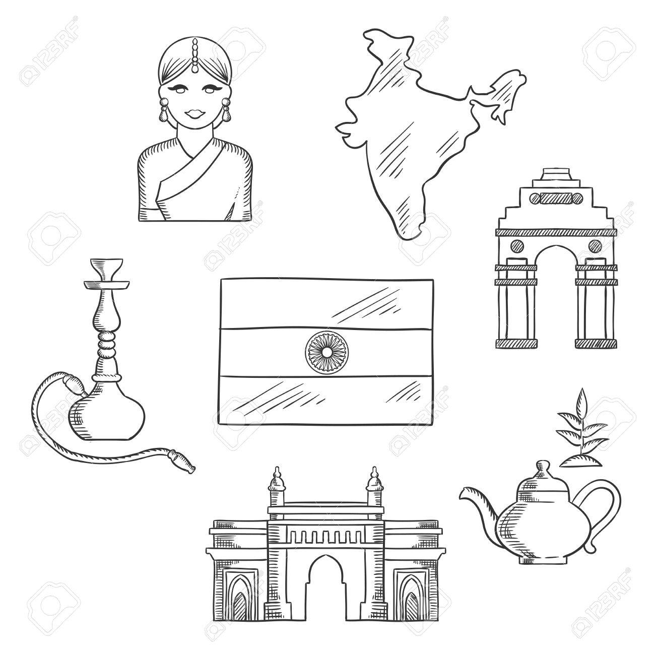1300x1300 India Culture And Travel Concept With Sketched Icons Of Gate