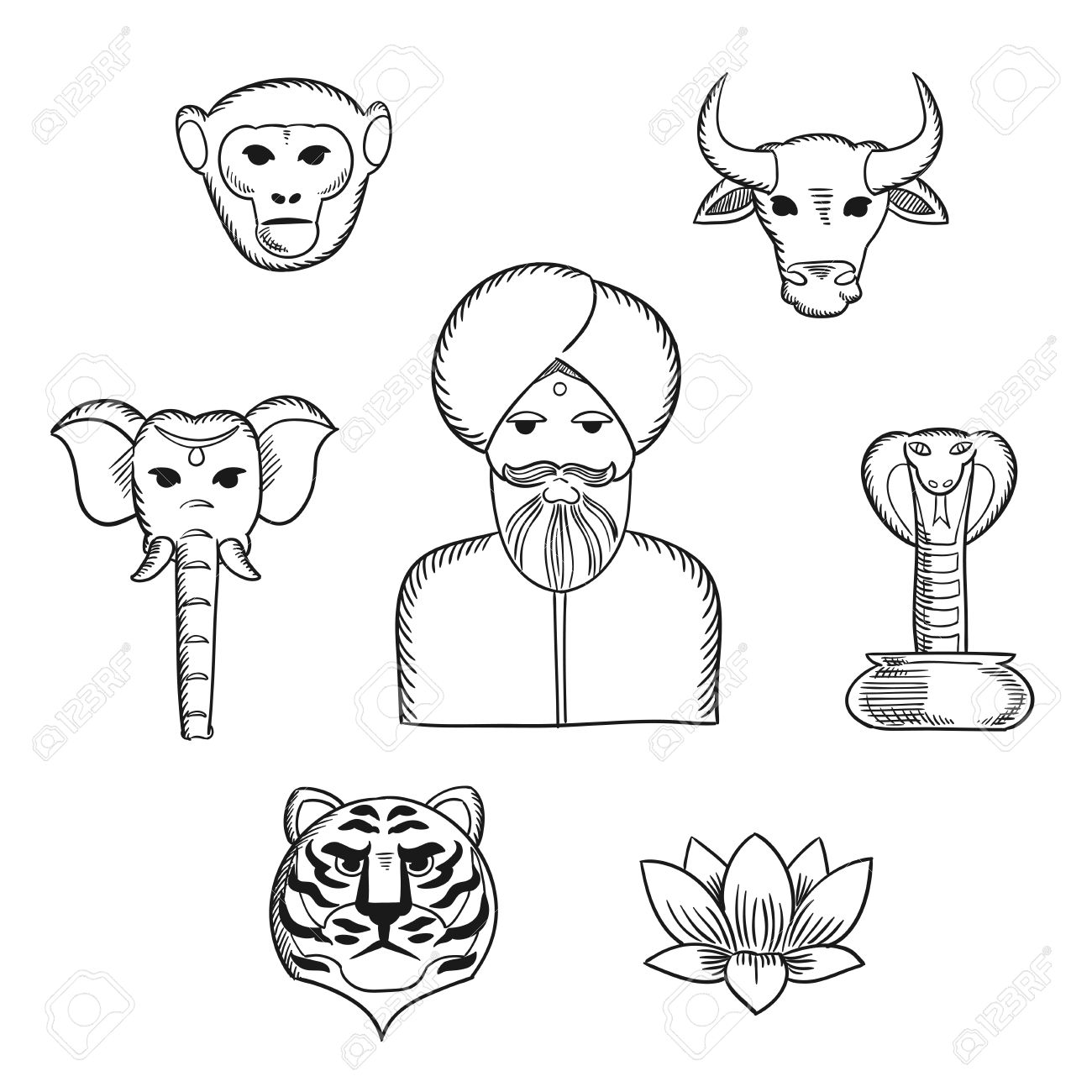 1300x1300 Indian Nature And National Symbols In Sketch Style With Indian