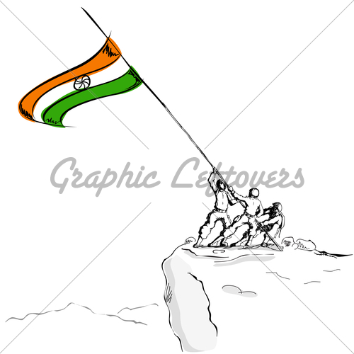 500x500 Soldier Raising Indian Flag Gl Stock Images
