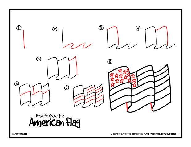 620x479 Drawn American Flag Artsy