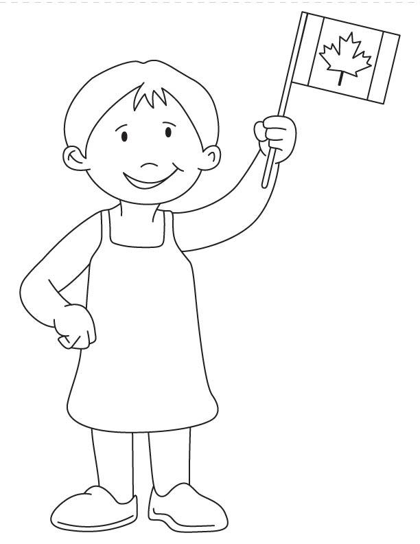 612x792 Girl Waving Canada Flag Coloring Page Download Free Girl Waving