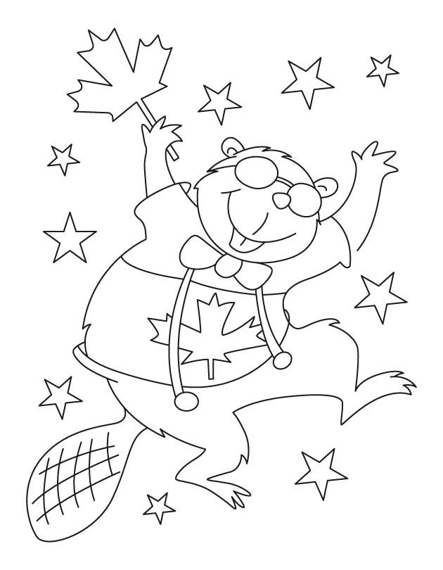 630x810 Happy Beaver Waving Canada Flag Coloring Pages Download Free