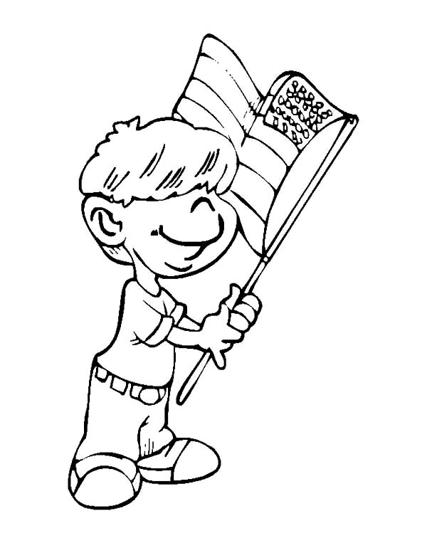 600x777 Little Boy Waving Flag On Flag Day Coloring Pages
