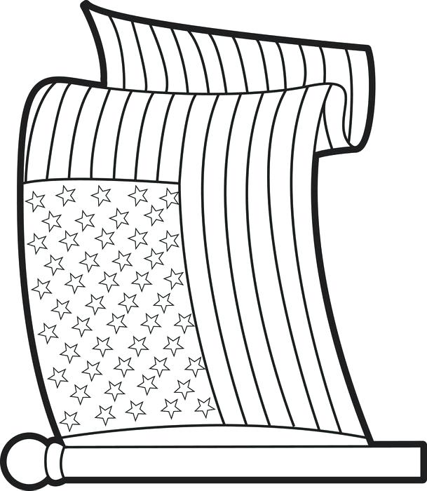 609x700 Printable American Flag Coloring Page Pin Drawn Flag Colouring
