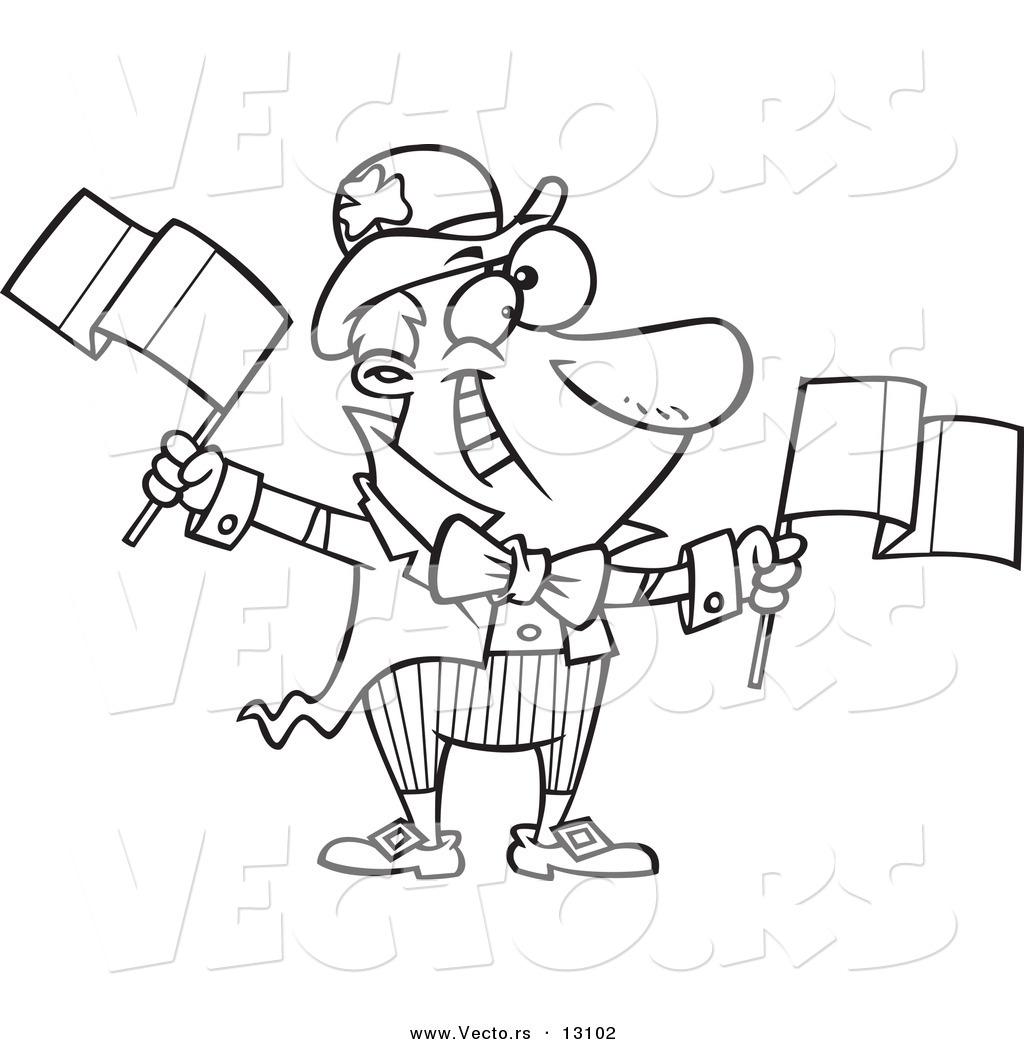 1024x1044 Vector Of A Cartoon Jolly Irish Man Leprechaun Waving Two Flags