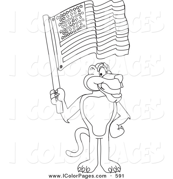 600x620 Waving American Flag Coloring Page