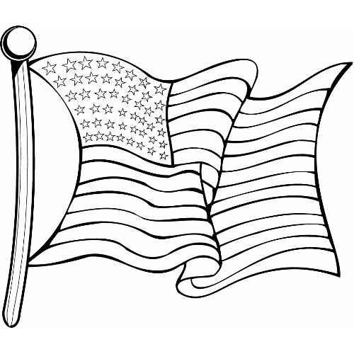 500x500 Waving American Flag Graphics Black And White