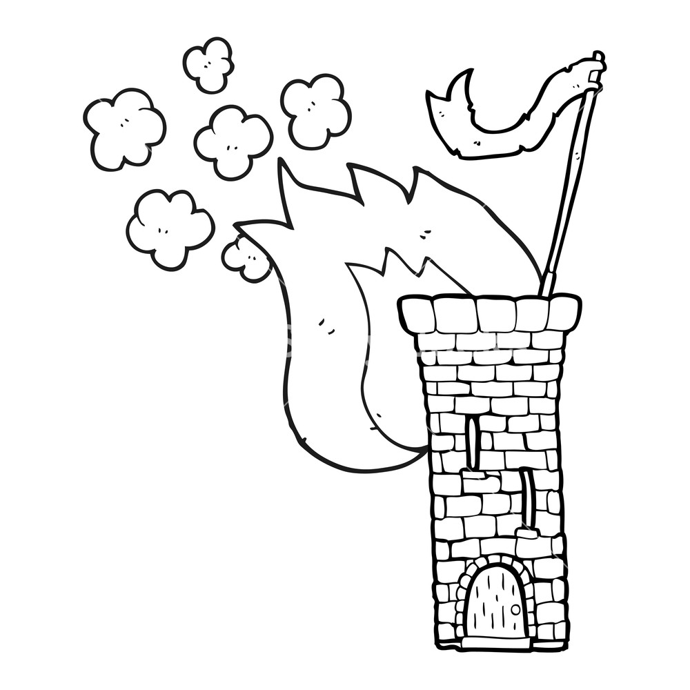 1000x1000 Freehand Drawn Black And White Cartoon Old Castle Tower Waving