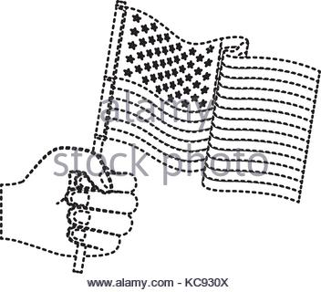352x320 Hand Holding United States Waving Flag Gradient Color Silhouette