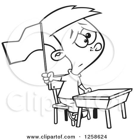 450x470 Clipart Of A Black And White Cartoon School Boy Waving A White