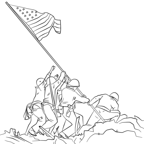 480x480 raising the flag on iwo jima coloring page free printable