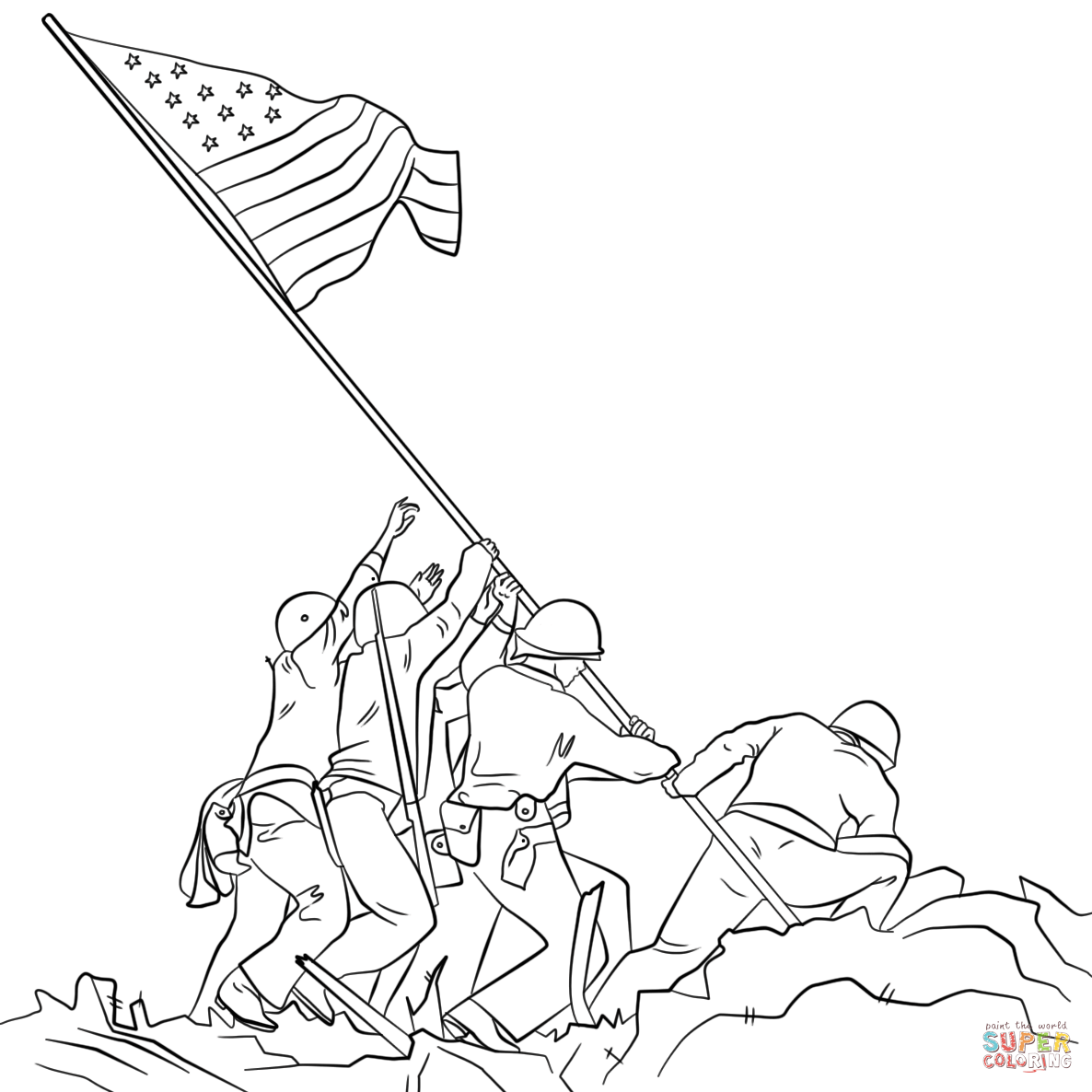 1186x1186 Raising The Flag On Iwo Jima Coloring Page Free Printable