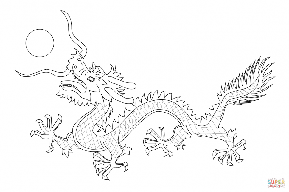 970x643 Coloring Chinese Dragon From The Flag Of Qing Dynasty Coloring