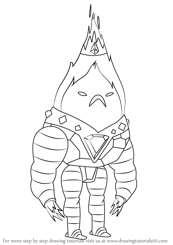 598x844 Learn How To Draw Flame King From Adventure Time (Adventure Time