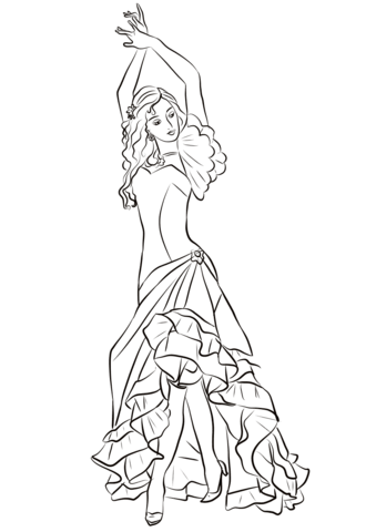 339x480 Flamenco Girl Coloring Page Free Printable Coloring Pages