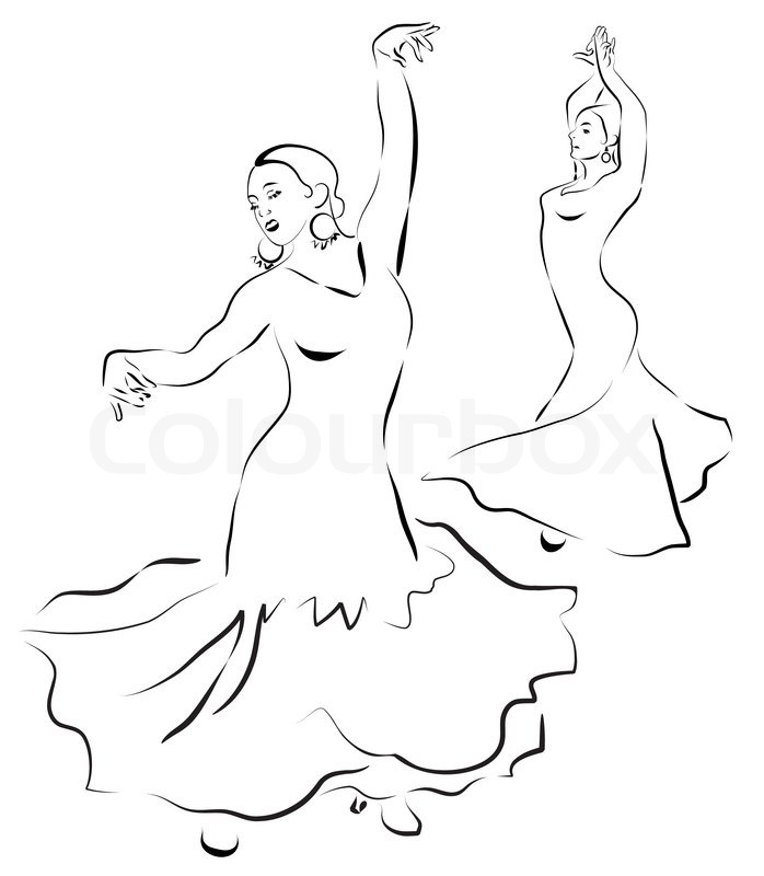 698x800 Flamenco Dancers Sketch Stock Vector Colourbox