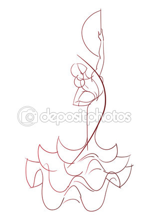 299x449 Gesto Pose Expresivo Dibujo De Flamenco Dancer Vector De Stock