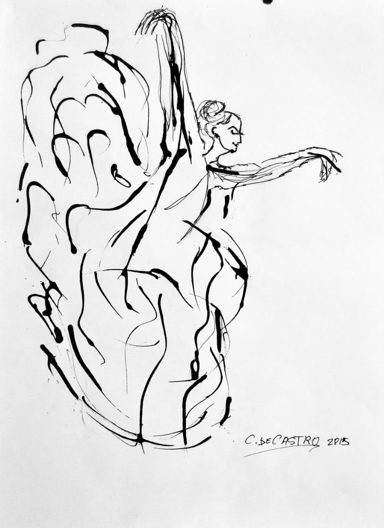 770x1058 Saatchi Art Flamenco Dancer Drawing By Concha De Castro