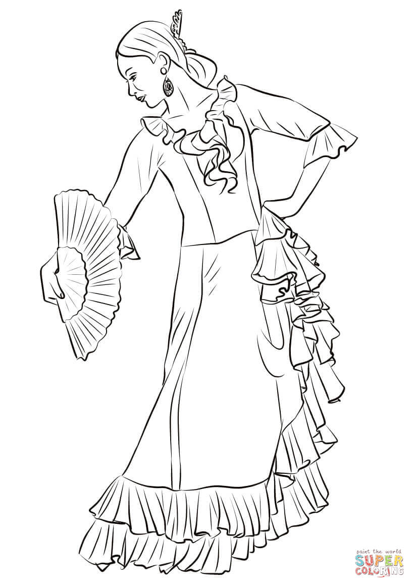 822x1164 Spanish Flamenco Dancer Coloring Page Free Printable Coloring Pages