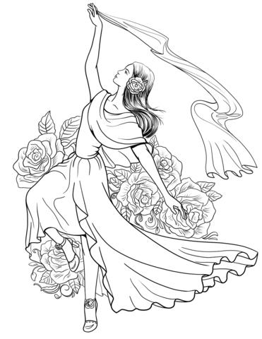 371x480 Spanish Woman Dancing Flamenco Coloring Page Free Printable