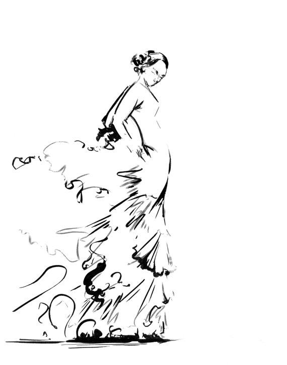 570x726 Flamenco Dancer Fine Art Print Black And White Dance Art