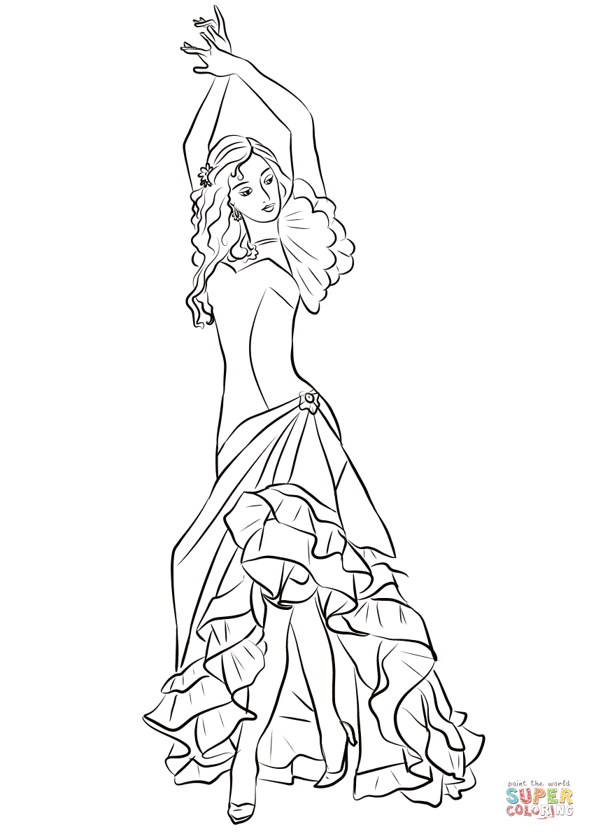 842x1191 Flamenco Girl Coloring Page Free Printable Coloring Pages
