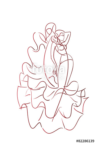 334x500 Gesture Drawing Flamenco Dancer Expressive Pose Stock Image