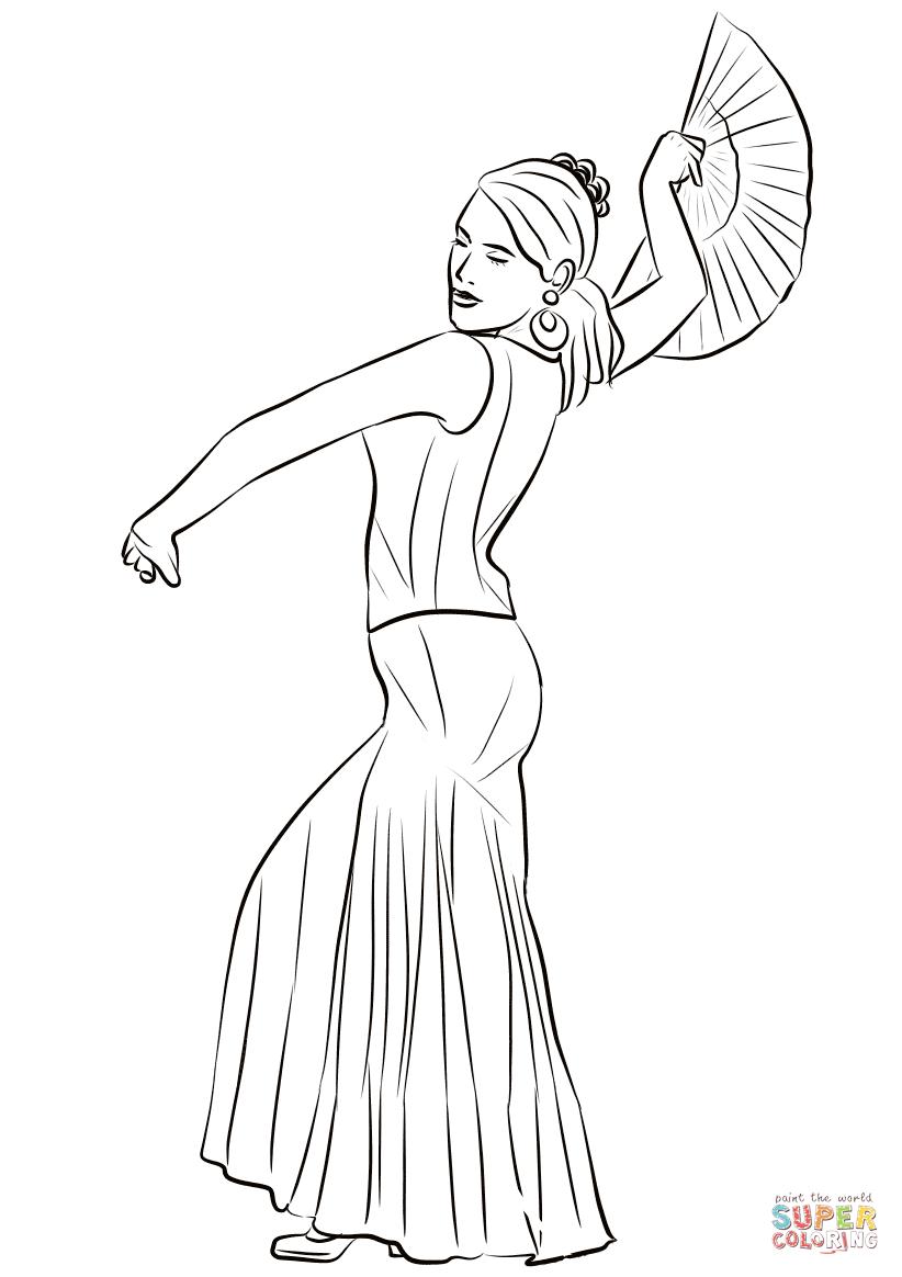 822x1164 Spanish Woman Dancing Flamenco Coloring Page Free Printable