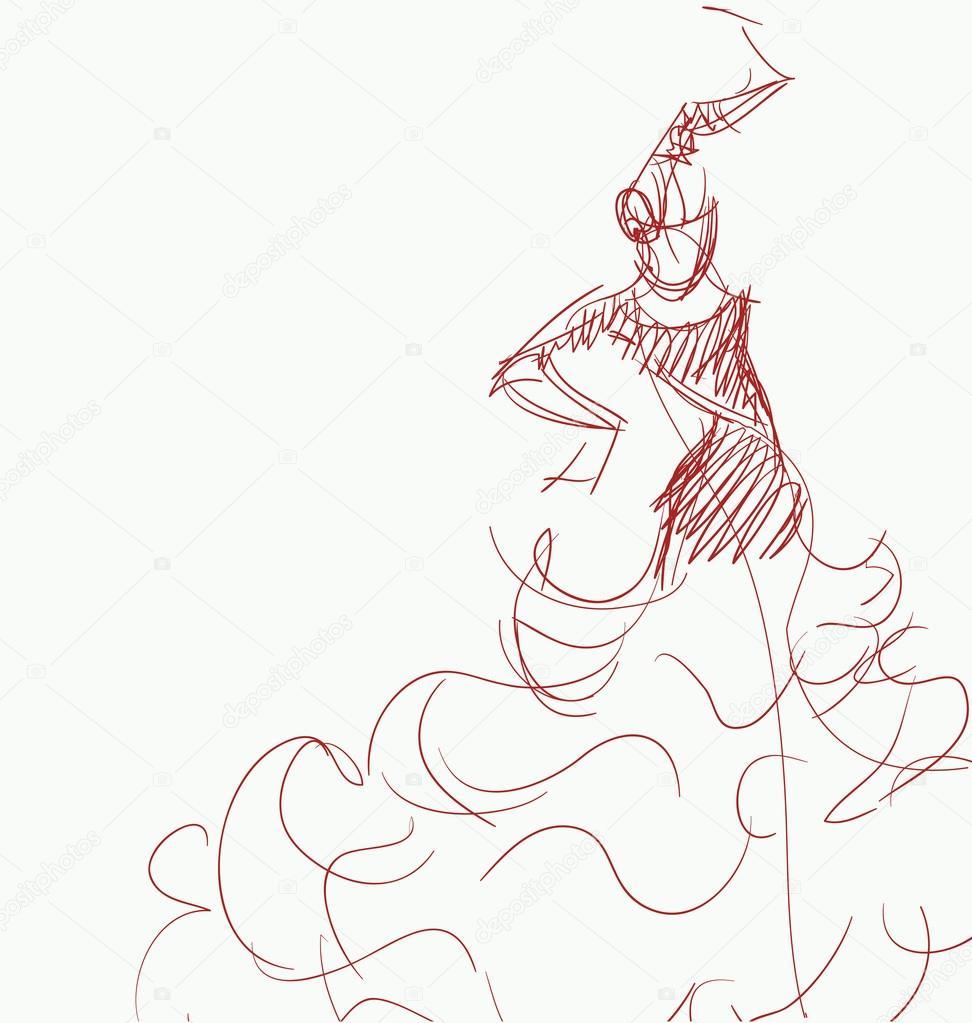 972x1023 Young Passionate Woman Dancing Flamenco Stock Vector Jera