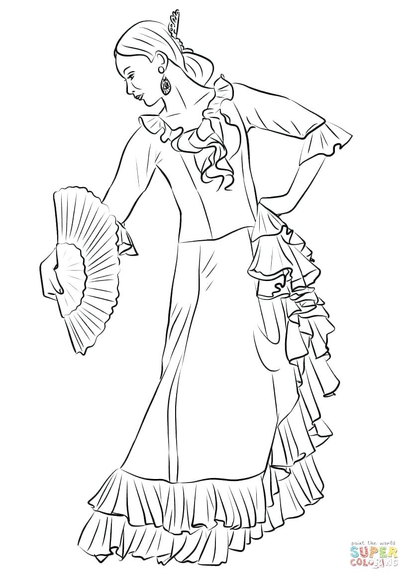 822x1164 Coloring Flamenco Dancer Coloring Page