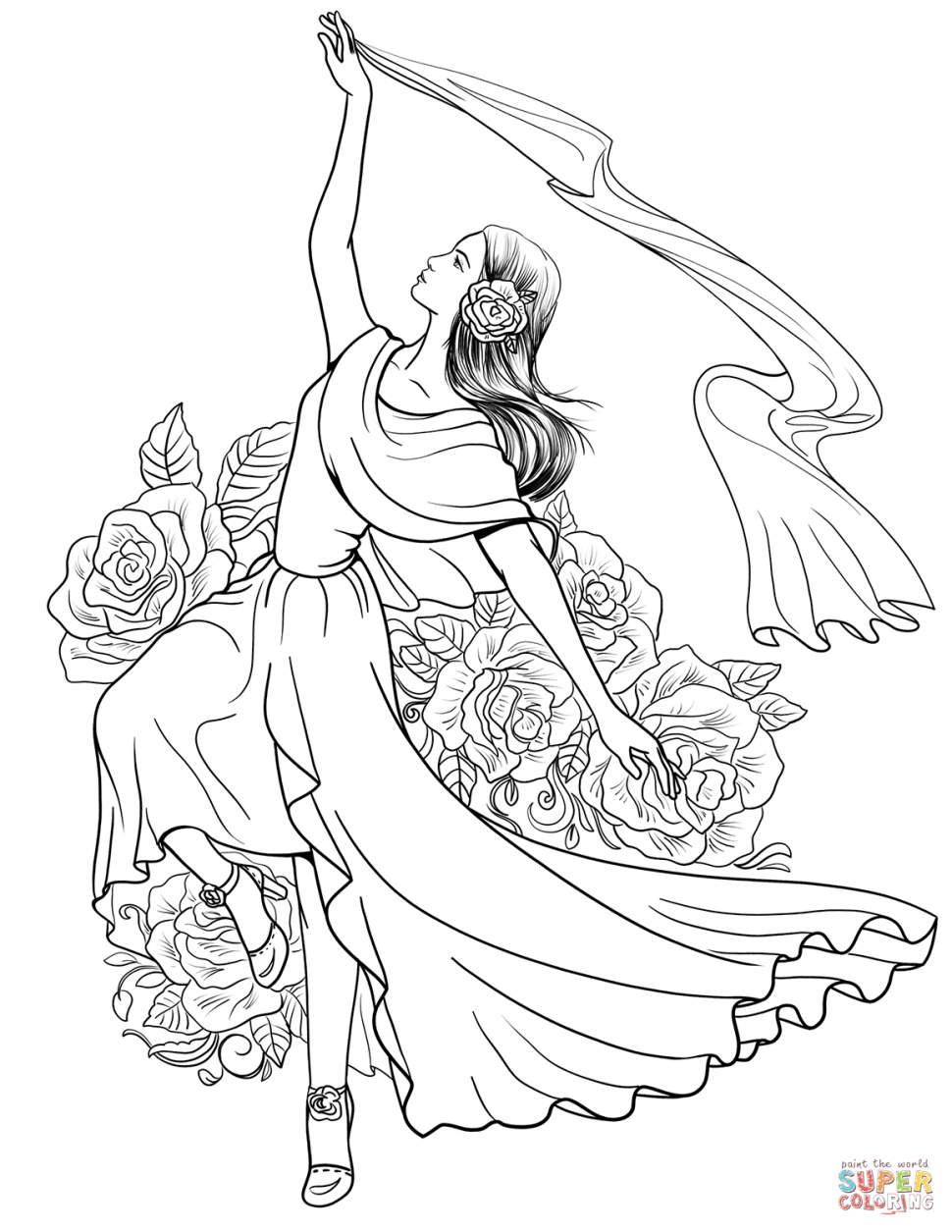 970x1255 Coloring Spanish Woman Dancing Flamenco Coloring Page 1 Page