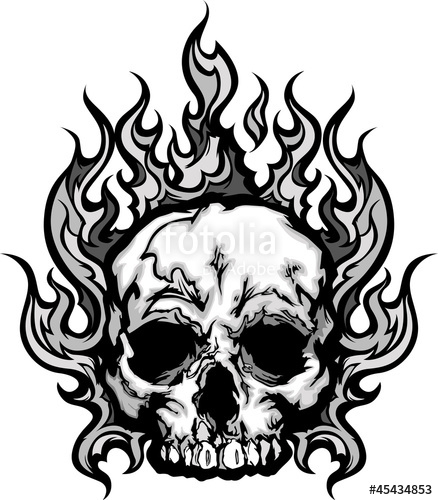 438x500 Flaming Skull Graphic Vector Image Stock Image And Royalty Free