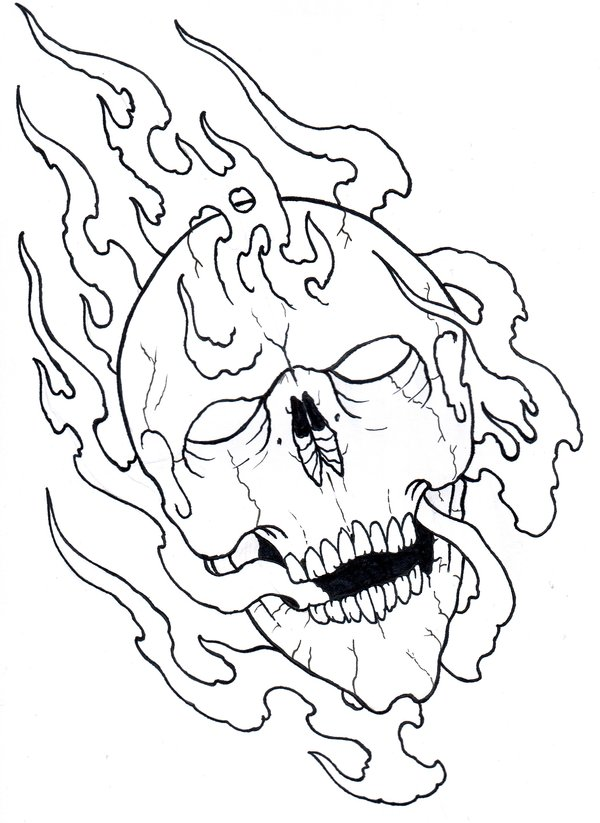 600x823 Flaming Skull Outline 09 By Vikingtattoo