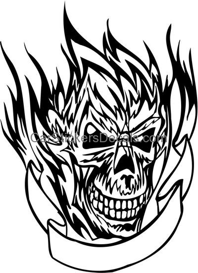 400x551 Flaming Skull Sticker 15 Amp Decal