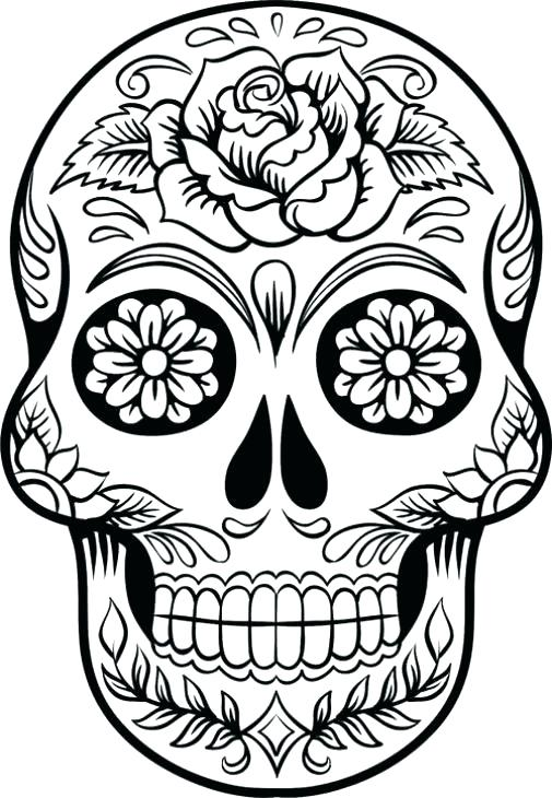 505x730 Good Flaming Skull Coloring Pages Online Skulls Image Of To Print