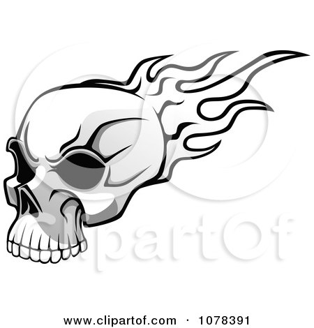 450x470 Clipart Black And White Flaming Skull With Dark Eye Sockets