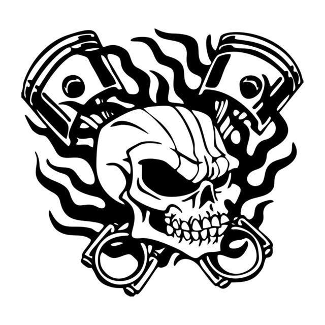 640x640 21.4cm20.3cm Scary Skeleton Skull Flame Piston Racing Car