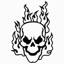 220x220 Flaming Skull 1 Vinyl Sticker