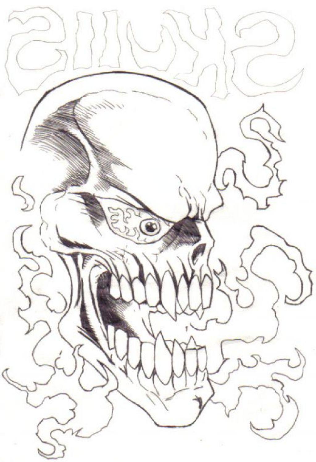 1024x1496 Flaming Skull Drawings